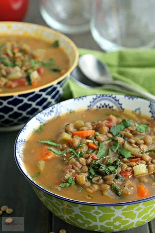 2 patterned soup bowls filled with easy lentil soup