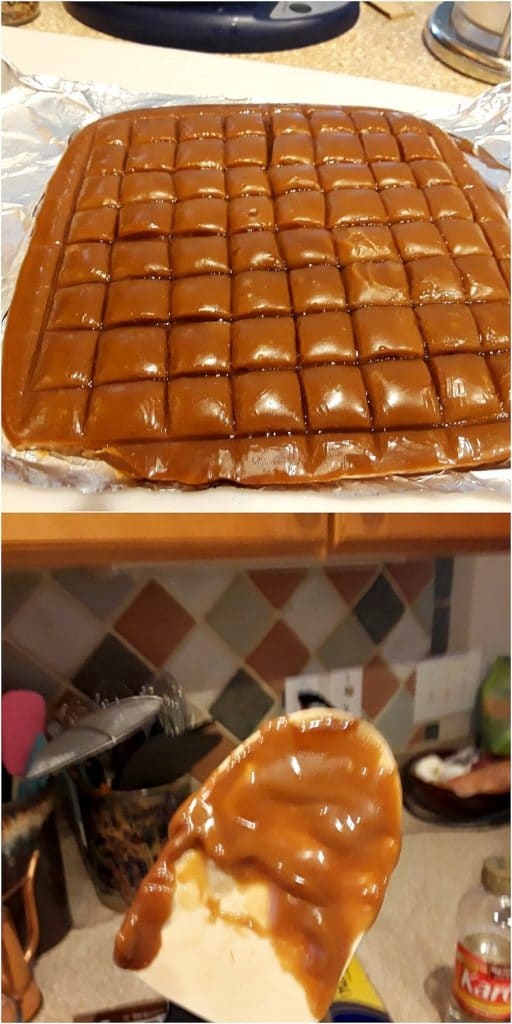 a collage of two images, one with a scored slab of candy and one with butterscotch all over a silicone spatula.