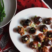 Spicy Korean Meatballs with a Gochujang Glaze
