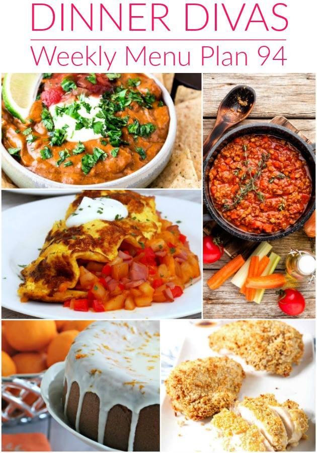 image collage of the recipes for the weekly meal plan. Text reads Dinner Divas Weekly Menu Plan 94