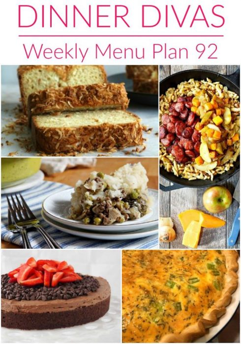 weekly meal plan collage text reads dinner divas weekly menu plan 92
