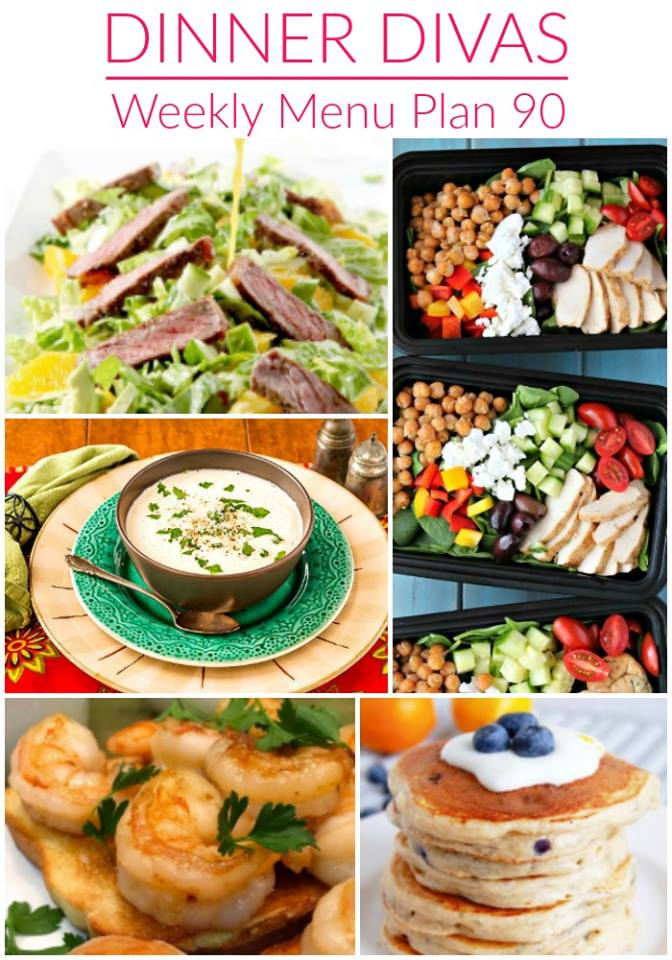 weekly meal plan top image collage. Text reads Dinner Divas Weekly Menu Plan 90