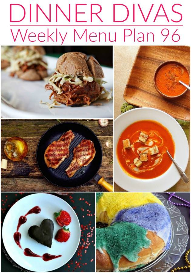 "weekly meal plan collage of recipe photos. Text reads ""dinner divas weekly menu plan 96"""