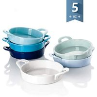 Sweese 5118 Porcelain Ramekins, 5 oz Ramekins for Baking, Round Creme Brulee Dish with Double Handle-Set of 6, Cold Assort Color