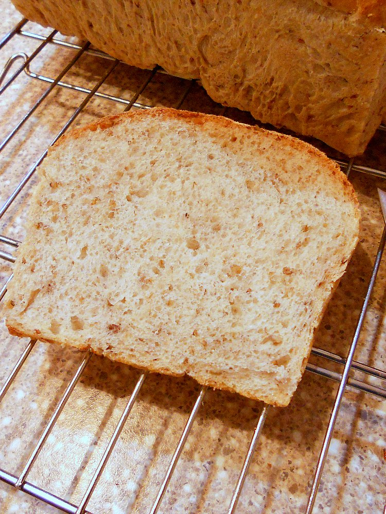 a slice of spent grain bread on a cooling rack