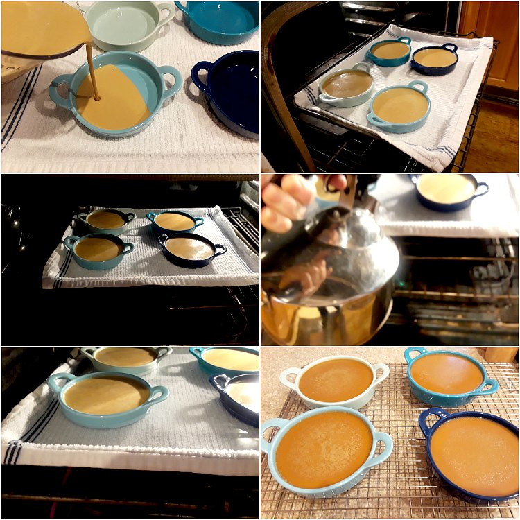 collage of images showing how to put the creme brulee in the oven without making a mess