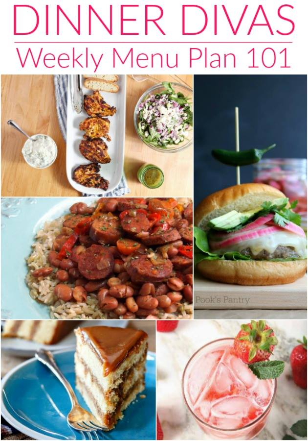 "collage image of recipe photos for the week's meal plan. Text reads ""Dinner Divas Weekly Menu Plan 101"""