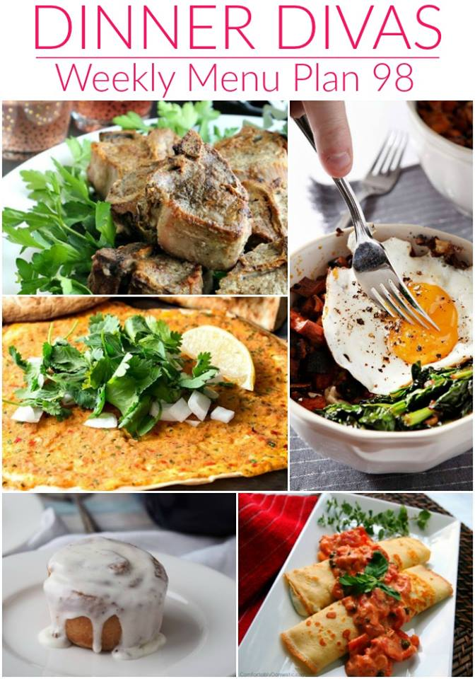 collage of food for the weekly meal plan. Text reads dinner divas weekly menu plan 98