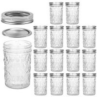 Mason Jars 8 OZ, VERONES 8 OZ Canning Jars Jelly Jars With Regular Lids and Bands, Ideal for Jam, Honey, Wedding Favors, Shower Favors, Baby Foods, 15 PACK