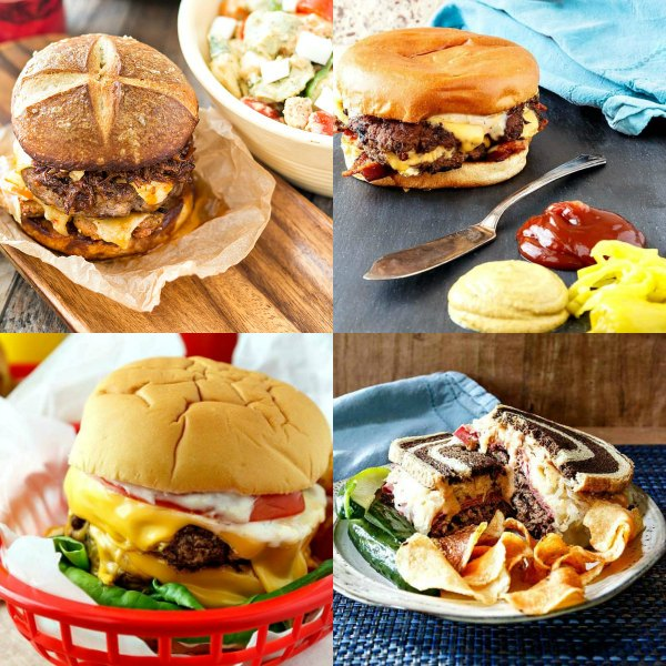 a square collage of 4 images of epic burgers