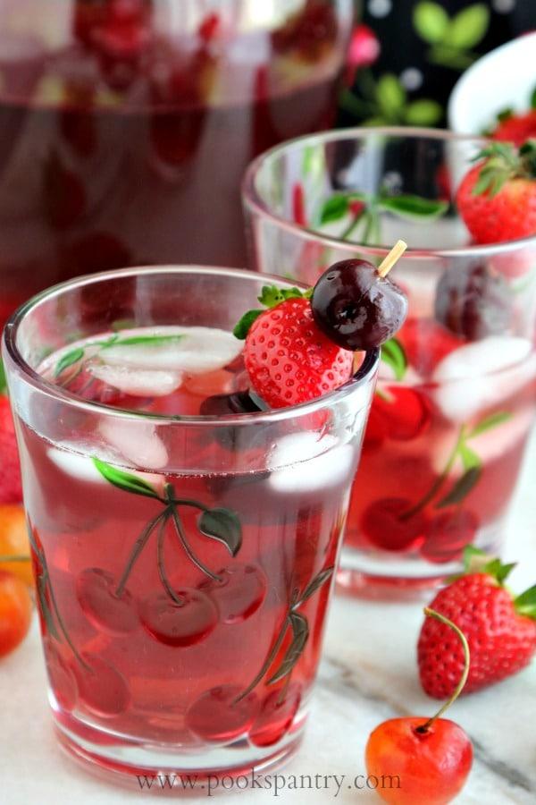 Strawberry Cherry Wine Spritzer   Pook's Pantry Recipe Blog