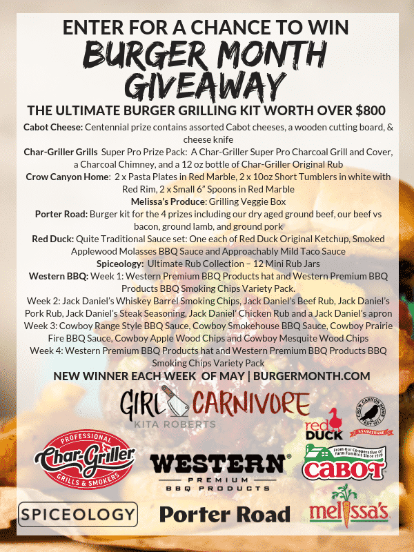 Burger Month Giveaway image announcing the prize packages available. Retail value of each weekly prize over $800.