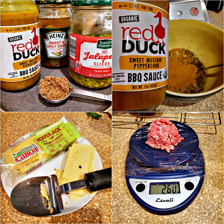 4 images showing the ingredients for bbq bacon smashed burgers
