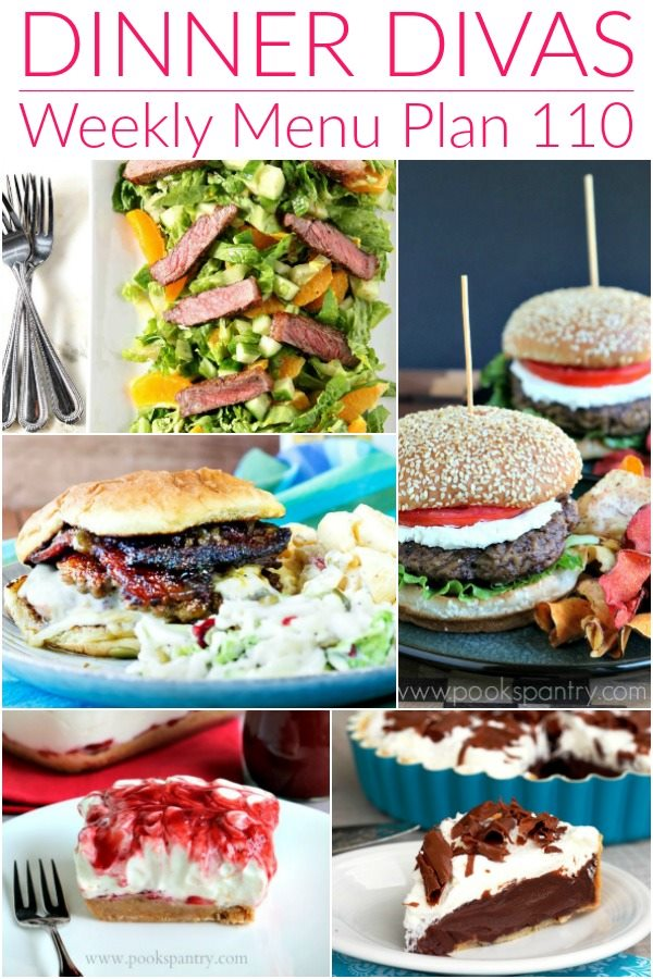 collage of 5 images: 2 burgers, a steak salad, and 2 desserts for the weekly meal plan