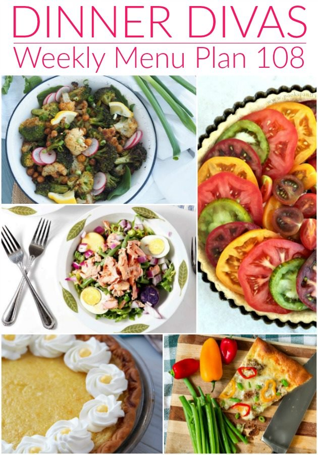 """collage of images for our meal plan. Text reads """"Dinner Divas Weekly Menu Plan 108"""""""