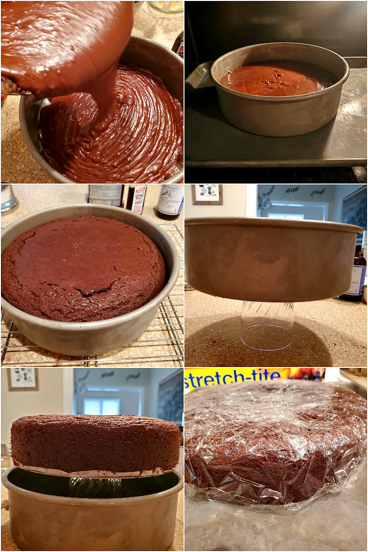 6 images showing pouring cake batter into the pan, baking it, removing it from the pan and wrapping it in plastic wrap to cool