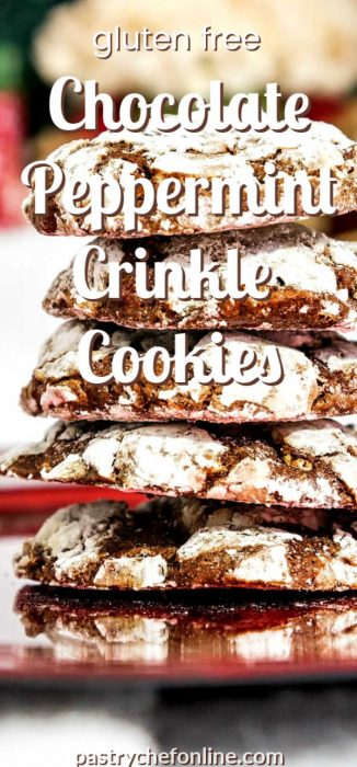 """vertical pin image of stack of chocolate cookies text reads """"gluten free chocolate peppermint crinkle cookies"""""""