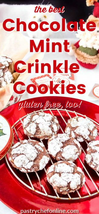 """chocolate crinkle cookies on a cooling rack on a red plate text reads """"the best chocolate mint crinkle cookies"""""""