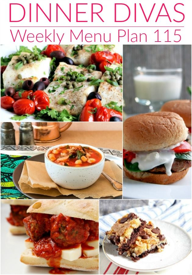 collage of 5 images from our weekly meal plan. Text reads dinner divas weekly menu plan 115