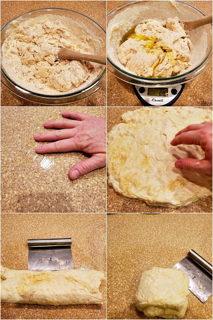 collage of 6 images showing how to make grandma pizza dough