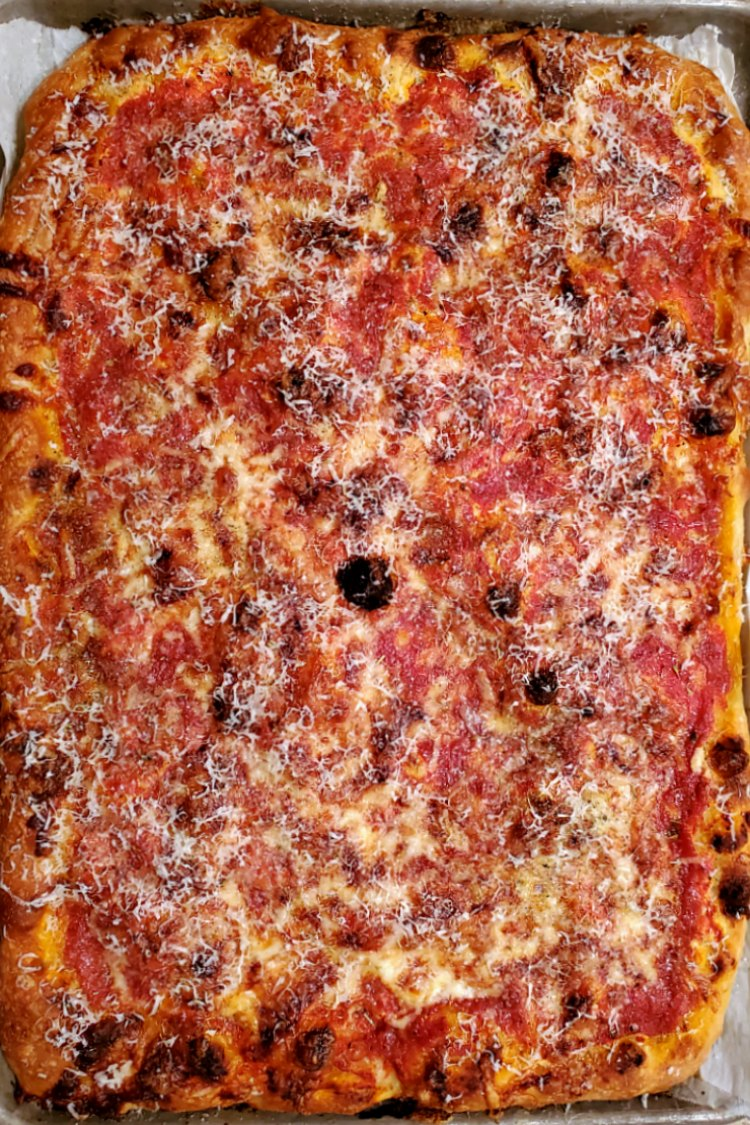 overhead shot of a rectangular baked lasagna pizza
