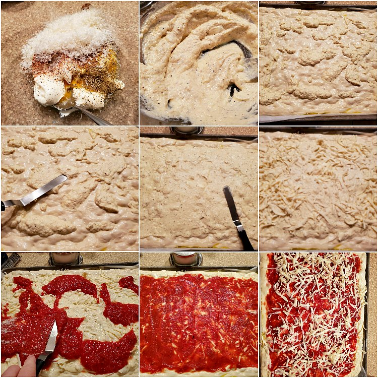 collage of 9 images showing step by step how to make ricotta mixture and layer on the ingredients for lasagna pizza