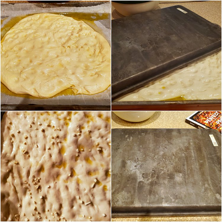 collage of 4 images showing how to stretch dough into the pan and let it rest