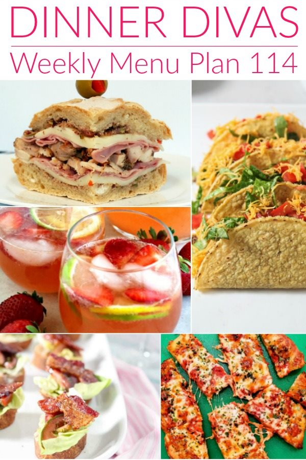 "collage image of recipe photos for our weekly meal plan. text reads ""dinner divas weekly menu plan 114"""