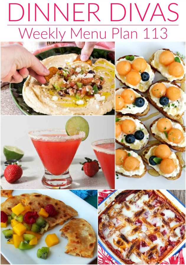 collage of images of the recipes for our weekly meal plan. Text reads Dinner Divas Weekly Menu Plan 113