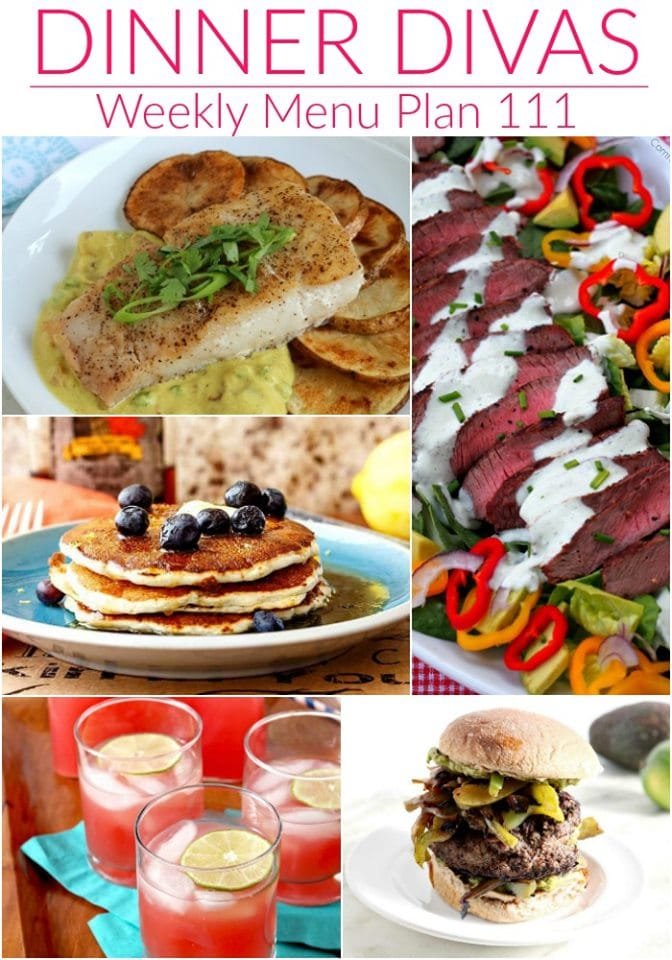 """dinner divas weekly meal plan collage text reads """"dinner divas weekly menu plan 111"""""""