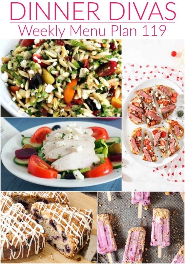 collage of 5 images from our weekly meal plan text reads Dinner Divas Weekly Menu Plan 119