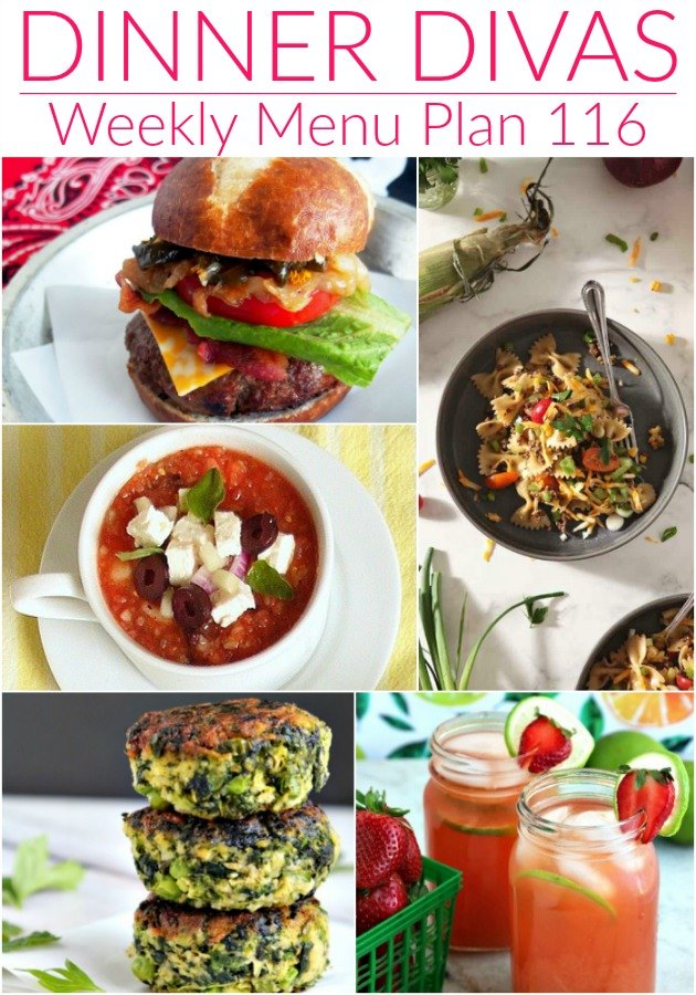 """weekly meal plan collage of photos of 5 of the recipes. Text reads """"Dinner Divas Weekly Menu Plan 116"""