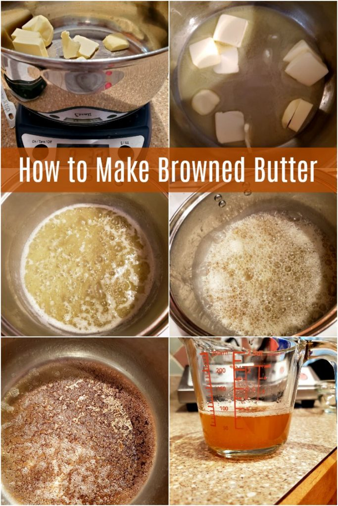 collage of 6 images showing how to make brown butter