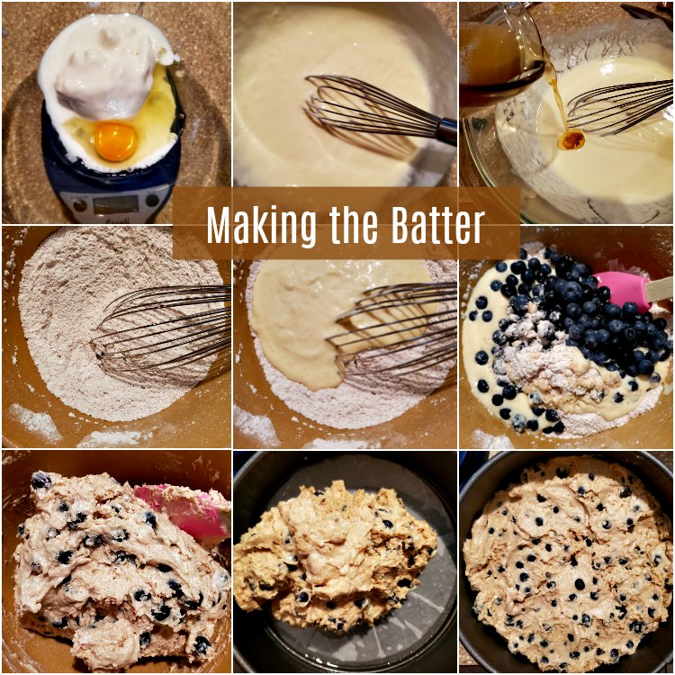collage of 9 images showing how to mix the batter for the brown butter blueberry buckle