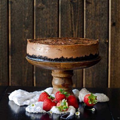 Nutella Cheesecake with Nutella Swirl and Chocolate Crumb Crust