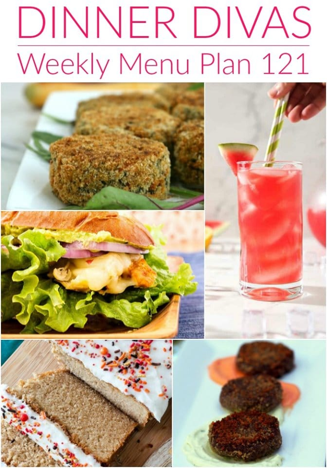 dinner divas weekly meal plan collage showing 5 images from our menu plan. text reads dinner divas weekly menu plan 121