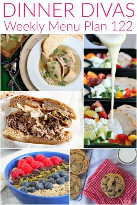 collage of 5 images for the Dinner Divas weekly meal plan post