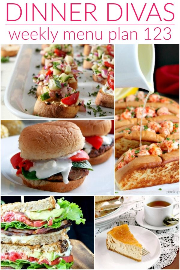 vertical collage of 5 images from the dinner divas weekly meal plan post. Text reads dinner divas weekly menu plan 123