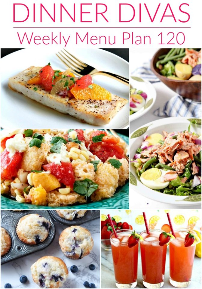 vertical collage of 5 images from the weekly meal plan post. Text reads Dinner Divas Weekly Meal Plan 120