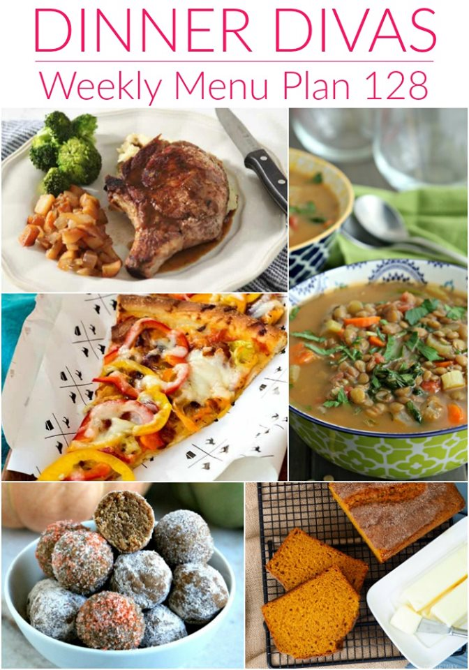 """collage of 5 images for our weekly meal plan. text reads """"Dinner Divas Weekly Menu Plan 128"""""""