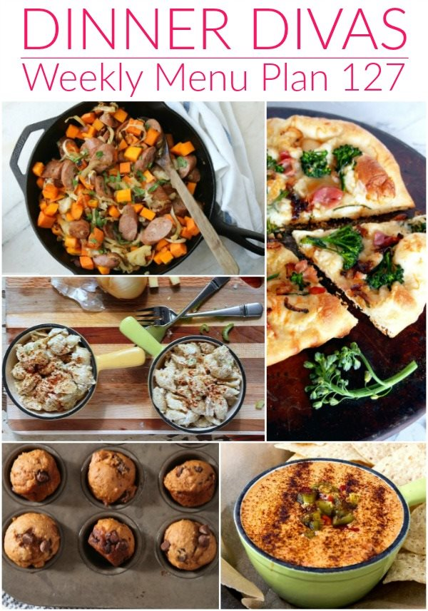 """collage of 5 images of our weekly meal plan recipes. Text reads """"dinner divas weekly menu plan 127"""""""