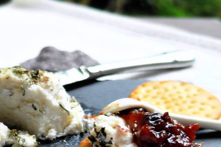 savory fig jam and crackers with goat cheese