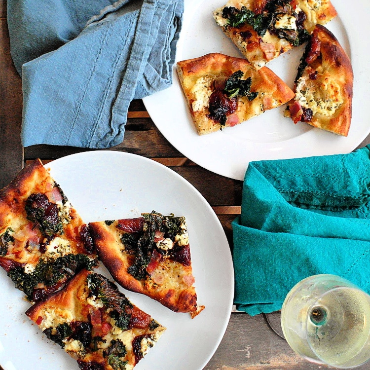 pizza with savory fig jam, kale, goat cheese, and bacon