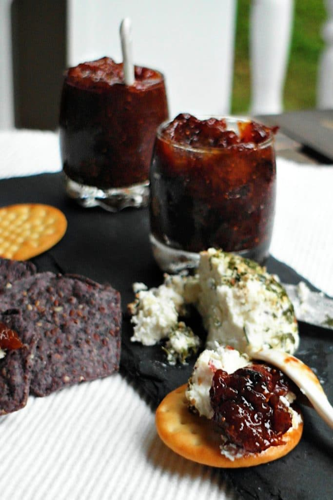 fig jam with goat cheese on crackers