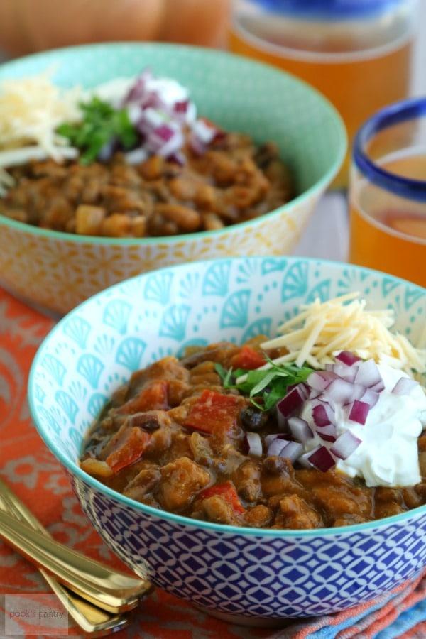 Turkey Pumpkin Chili Slow Cooker Recipe | Pook's Pantry Recipe Blog