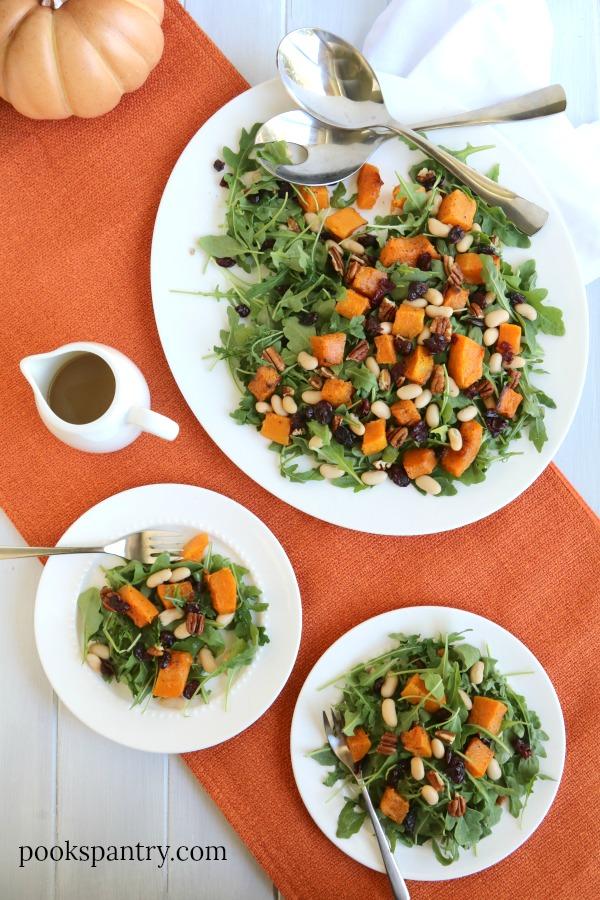 Butternut Squash Arugula Salad with White Beans and Maple Vinaigrette