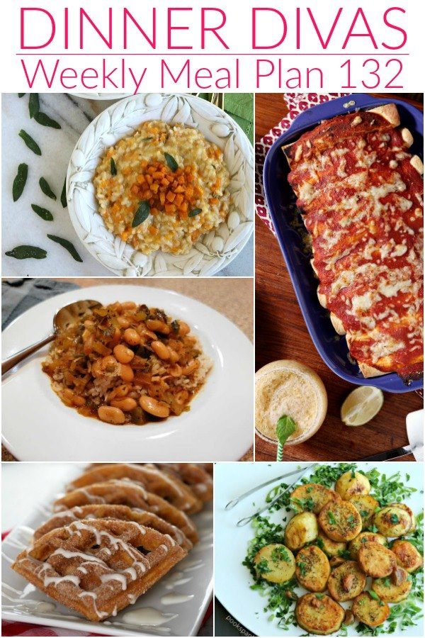 weekly meal plan post collage of 5 images of our recipes. Text reads dinner divas weekly meal plan 132