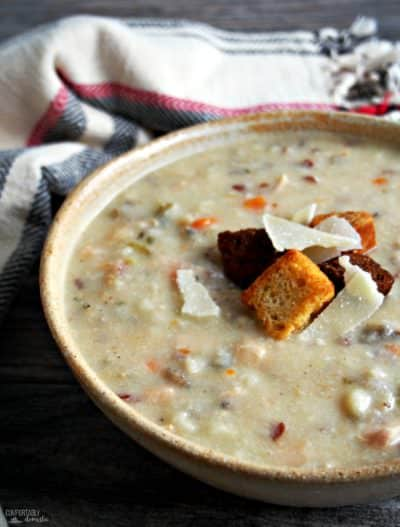 Slow Cooker Chicken Wild Rice Soup - Comfortably Domestic