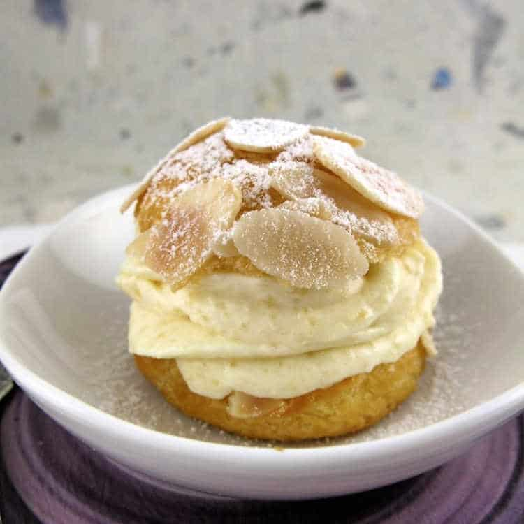 a cream puff filled with frangipane filling made without egg