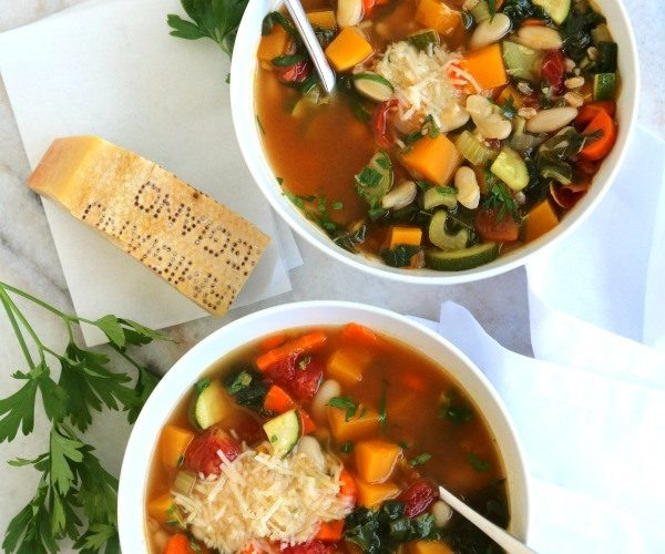 overhead shot of 2 bowls of minestrone